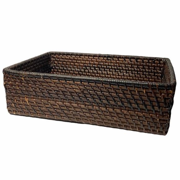 VTG Boho Woven Wood Rectangular Basket
